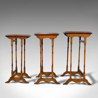Antique Trio of Nest Tables, English, Walnut, Mahogany, Nesting, Side, Edwardian (5 of 12)