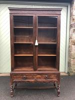Antique Glazed Oak Barley Twist Bookcase