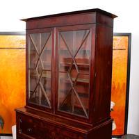 Tall Antique Secretaire Bureau Bookcase Astragal Glazed Mahogany Library Cabinet (3 of 13)