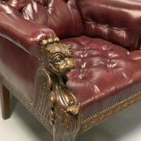 Pair of 19th Century Buttoned Leather Armchairs with Grifins (7 of 11)
