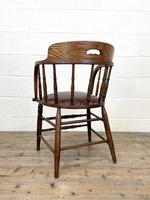 Antique Desk Chair with Leather Seat (10 of 10)