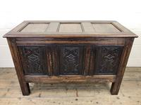 18th Century Carved Oak Coffer (3 of 10)