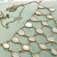 Antique Edwardian Silver Moonstone Festoon Bib Necklace c.1901 (6 of 9)