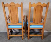 Pair of Oak Reproduction High Back Armchairs (7 of 11)
