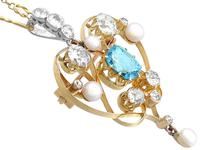 3.22ct Diamond & 2.10 ct Aquamarine, Pearl & 18ct Yellow Gold Pendant / Brooch - Antique Victorian (4 of 9)