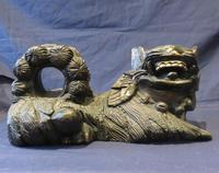 """16"""" Wide Antique Temple Dogs Fo Dogs Hand Carved T (2 of 9)"""