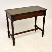 Antique Leather Top Oak Writing Table / Desk (10 of 10)