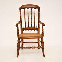 Antique Victorian Carved & Cane Seated Armchair (2 of 11)