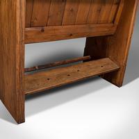 Antique Love Seat, English, Pine, Bench, Pew, Ecclesiastic Taste, Victorian (11 of 12)