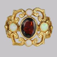 Vintage Garnet & Opal 9ct Gold Victorian Style Ring Ornate Antique Style Ring (2 of 7)