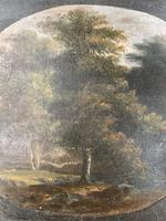 Antique Georgian landscape oil painting of boy in woods 1 of 2 (5 of 9)