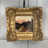 Antique Victorian signed oil painting river landscape at sunset in gesso frame (5 of 8)