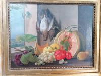 19th Century Still Life with Grapes, Pumpkin, Tomatoes Oil on Canvas (9 of 12)