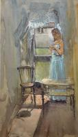 Stunning 20th Century Watercolour & Pastel Portrait Painting in Art Deco Manner (5 of 11)