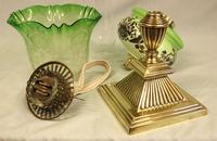 Antique Victorian Green Glass Oil Lamp & Original Frilled Green Shade (9 of 13)