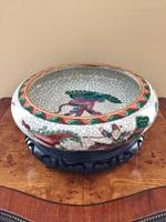 Chinese Crackle-glaze Bowl on Wooden stand, Qing Dynasty (10 of 10)