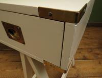Vintage Scandi Boho White Campaign Style Desk with Trestle Legs (12 of 17)