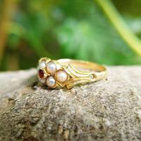 Antique 18ct Yellow Gold Garnet & Pearl Locket Ring (6 of 10)