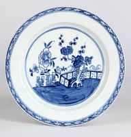 English Blue & White Ceramic Chinoiserie Fence Pattern Decorated Plate 18th Century (4 of 12)