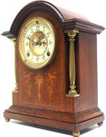 Superb Ansonia Oak Inlaid Mantel Clock Arched Top 8 Day Striking Mantle Clock (5 of 11)