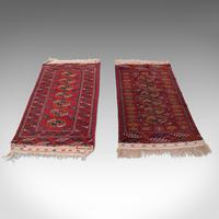 Antique Near Pair, Bokhara Rugs, Turkoman, Tekke, Carpet, Wall Covering, C.1910 (4 of 12)