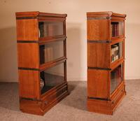 Pair Of Low Stacking Bookcases In Light Oak Globe Werknicke Late 19th Century (7 of 10)
