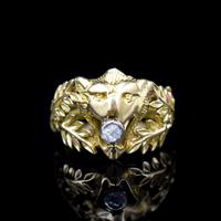 Antique Diamond Lions Head and Laurel Leaf 18ct 18K Yellow Gold Ring (5 of 9)