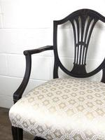 Antique 19th Century Open Arm Carver Armchair with Fabric Seat (M-1196) (7 of 11)
