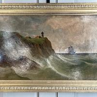 Antique Marine Coastal Seascape Oil Painting Entitled On the Yorkshire Coast by Tom Owen (3 of 10)