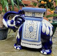 Mid 20th Century French Ceramic Hand-painted Elephant-form Garden Seat (2 of 9)