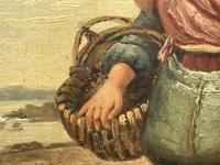 """Pair of Victorian Oil Paintings """"Cockle Pickers"""" Female Figures on Beach Shoreline (7 of 33)"""