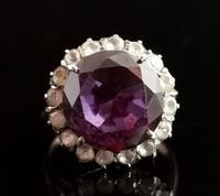 Vintage Colour Change Sapphire & Paste Cluster Ring, 9ct Rose Gold