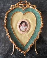 Stunning Ormolu Frame Child & Rabbit Porcelain Plaque