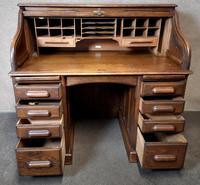 Antique Edwardian Oak Roll Top Pedestal Desk (5 of 10)