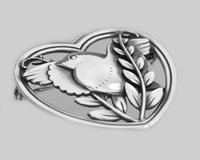 Vintage  Georg Jensen Robin in a Heart Brooch Arno Malinowski 1930s Silver 283 Brooch (6 of 6)