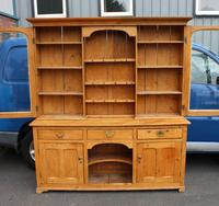 1900's Large Country Pine Dresser with Glass Doors (3 of 4)