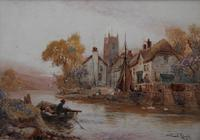 Walter Stuart LLOYD Fishing Village c1900 Watercolour (3 of 5)