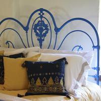 Blue Curly Iron Victorian Antique Bed (5 of 6)