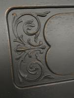 Antique Art Nouveau Black Writing Bureau Desk with Carvings, Lockable, Gothic (3 of 23)