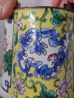 Antique Chinese Canton Enamel Planter / Pot Enamel on Copper Hand Painted (9 of 14)