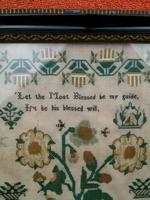 """Large Antique Needlework Sampler 1835 Mary Ann Fulcher 13yrs in Frame 14"""" x 19"""" (7 of 12)"""
