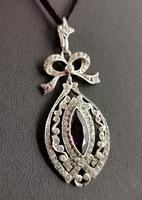 Antique Edwardian Paste Pendant, Sterling Silver (5 of 11)