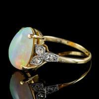 Antique Edwardian Natural Opal Diamond Ring 18ct Gold 5.50ct Opal c.1901 (6 of 7)