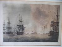 """Coloured Aquataint of """" Battle of the Nile Aug 1st 1798"""" from """"Naval Achievements of Great Britain from the Year 1793-1817"""" Pub. by James Jenkins 1817 (2 of 6)"""