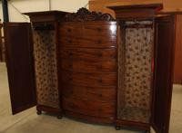 1900s Large Mahogany Bow Front Wardrobe with Drawers (3 of 4)