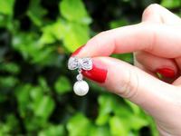 0.36ct Diamond & Pearl, 18ct White Gold Drop Earrings - Vintage c.1940 (2 of 9)