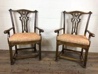 Pair of 19th Century Chippendale Style North Country Armchairs (10 of 10)