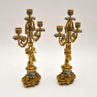 Pair of Antique French Victorian Gilt Bronze Champlevé Candelabra (11 of 12)
