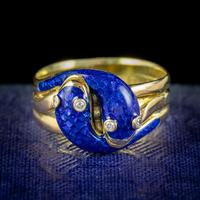 Antique Victorian Diamond Blue Enamel Snake Ring 18ct Gold Dated 1894 (2 of 7)