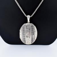 Antique Aesthetic Large Sterling Silver Locket with Long Curb Chain Necklace (3 of 11)
